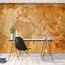 Peintures murales adhésives carte du monde vintage