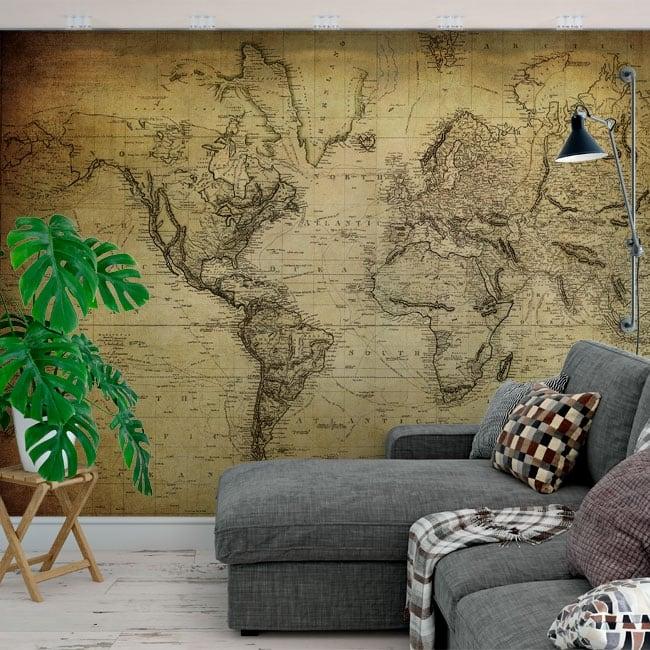 Peintures murales adhésives carte du monde de style vintage