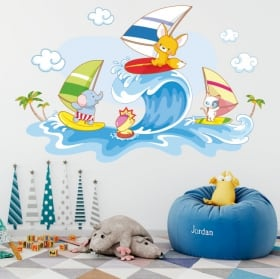 Stickers muraux animaux enfants planche à voile sur la plage