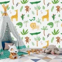 Peintures murales pour enfants animaux de la jungle