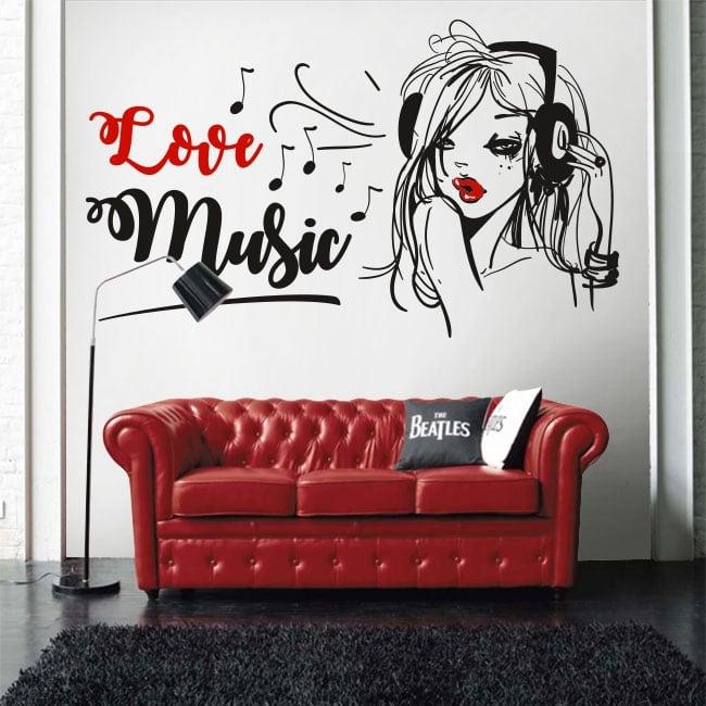 Vinyle et autocollants silhouette de femme love music