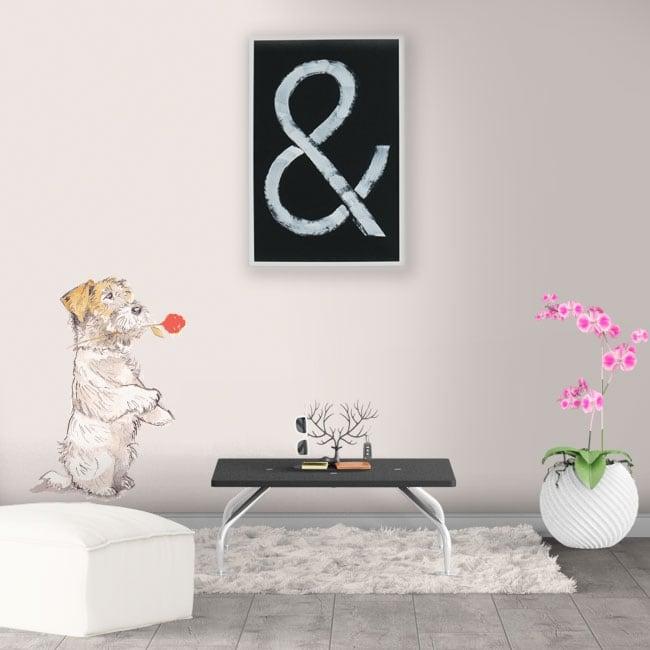 Vinyle décoratif et des autocollants chien avec rose