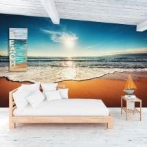 Stickers muraux coucher de soleil sur la plage