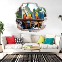 Vinyle et autocollants 3d perroquets ou aras