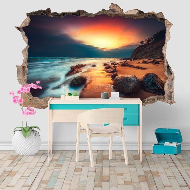 Vinyle et autocollants 3d lever du soleil sur la plage
