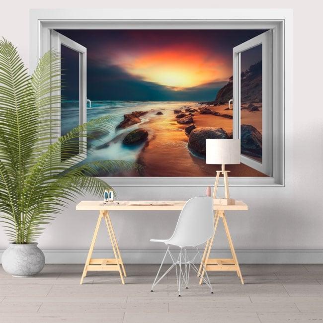 Stickers muraux fenêtre 3d lever de soleil sur la plage