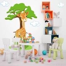 Vinyle pour enfants girafe avec arbre et nuages