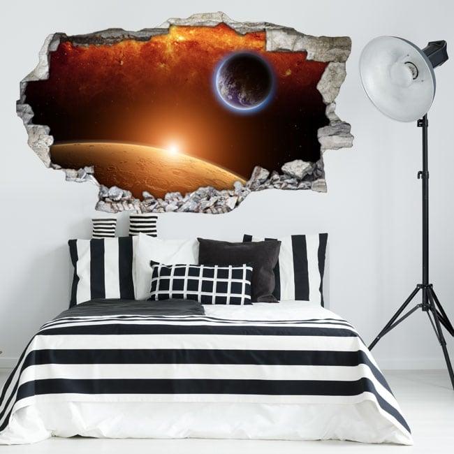 Vinyles 3d planète terre avec mars et le soleil