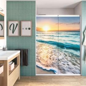 Vinyle décoratif écrans de salle de bain plage au coucher du soleil
