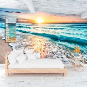 Peintures murales de vinyle coucher de soleil sur la plage