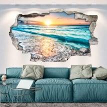 Vinyls trou de mur coucher de soleil sur la plage 3d