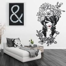 Vinyle décoratif et des autocollants silhouette de femme avec des fleurs