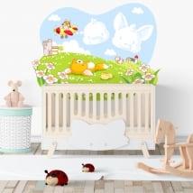 Vinyle pour enfants ou bébés renard et poussin sur le terrain