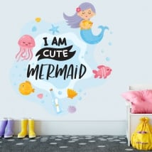 Vinyle décoratif phrase anglaise i am cute mermaid