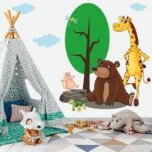 Vinyle pour enfants ou jeunes animaux dans la forêt