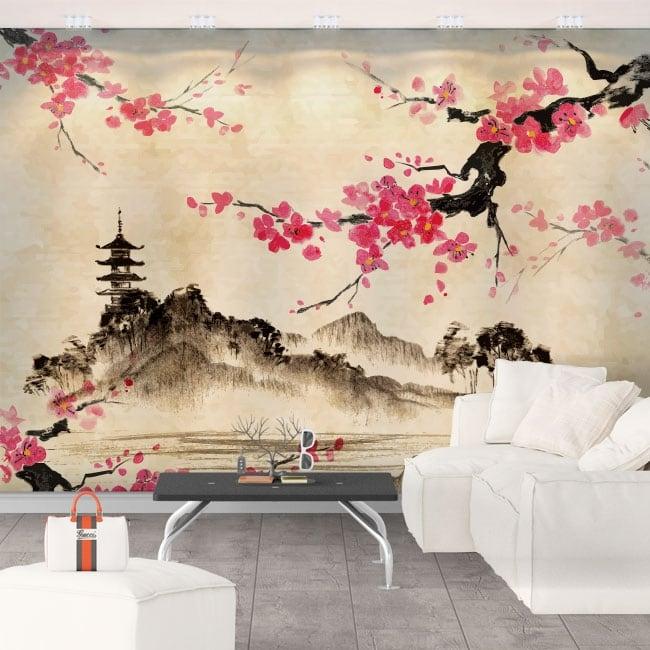 Peintures murales de vinyle art japonais