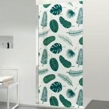 Vinyle pour écrans de salle de bain feuilles tropicales