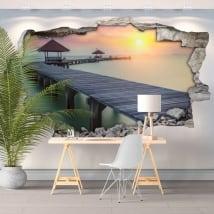 Vinyls trou de mur coucher de soleil pont sur l'île 3d