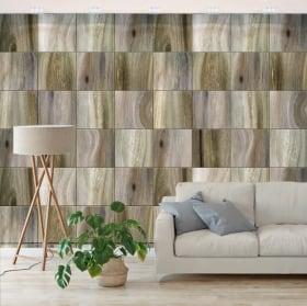 Peintures murales de vinyle carrés en bois