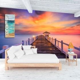 Peintures murales coucher de soleil sur le pont de l'île