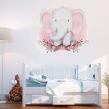 Vinyle et autocollants éléphant avec des fleurs pour les bébés