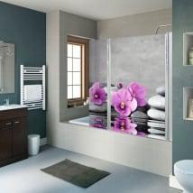 Vinyls écrans de salle de bains pierres zen et fleurs