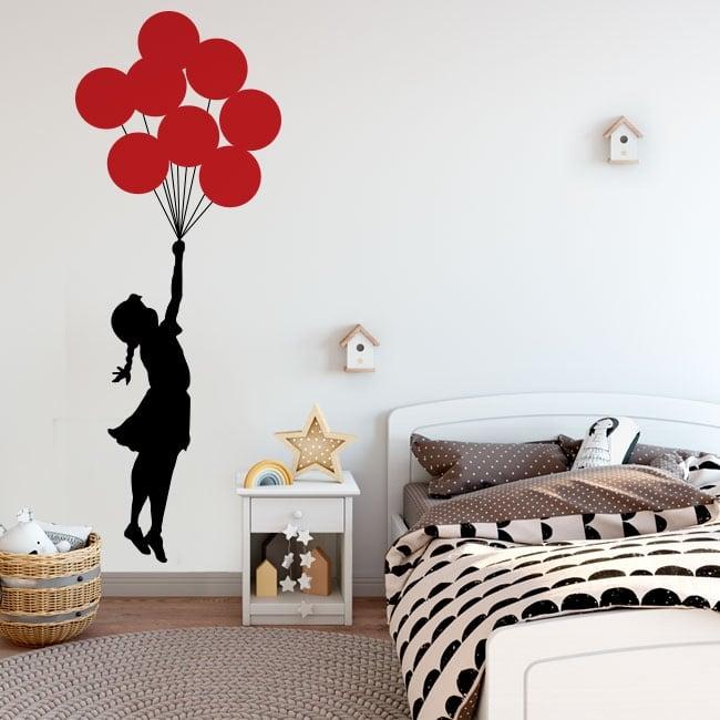Vinyle décoratif et des autocollants banksy fille avec des ballons