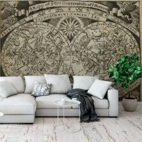 Peintures murales carte astrale signes du zodiaque