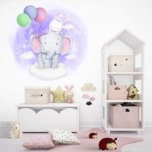 Vinyles et autocollants pour enfants éléphant et lapin dans les nuages