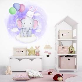 Vinyle et autocollants pour enfants ou bébés le vol de l'éléphant