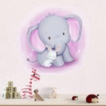 Vinyle et autocollants pour enfants ou bébés éléphant et lapin
