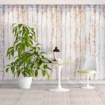 Peintures murales de vinyle effet bois blanc rustique