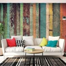 Murales en vinyle effet bois rustique