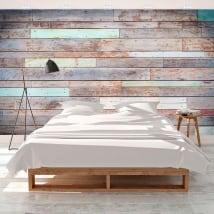 Murales de vinyle bois de couleur rustique