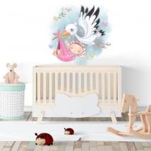 Vinyle décoratif fille et cigogne pour les bébés