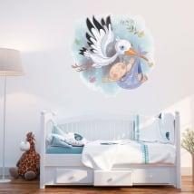 Vinyle décoratif les enfants cigogne pour les bébés