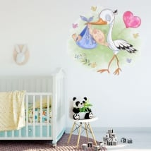 Vinyle décoratif pour bébé cigogne et enfant