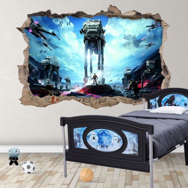 Vinyle décoratif et autocollants 3d star wars champ de bataille