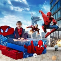 Peintures murales marvel ironman et spiderman