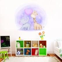 Vinyle pour enfants ou bébés girafe et éléphant
