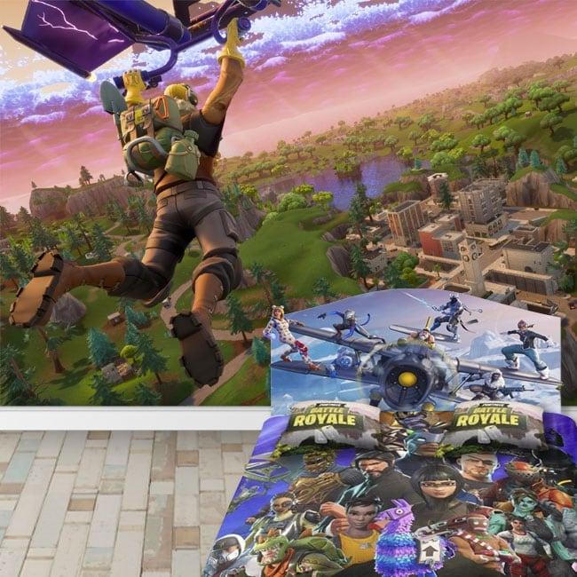 Peintures murales de vinyle jeu vidéo fortnite