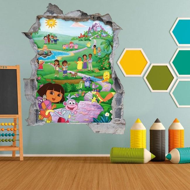 Vinyle pour enfants 3d dora l'exploratrice