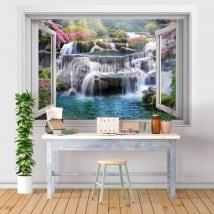 Fenêtres en vinyle 3d chutes d'eau en thaïlande