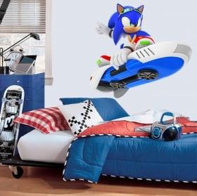 Vinyle décoratif jeux video sonic snowboard