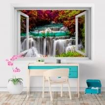 Vinyles 3d fenêtre chutes d'eau en thaïlande huay mae kamin