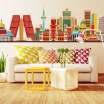 Vinyle décoratif skyline de madrid