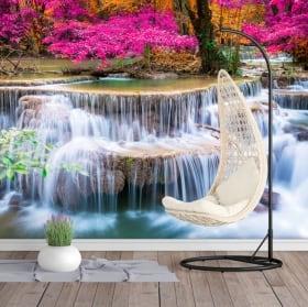 Murales de vinyle cascade et arbres en automne