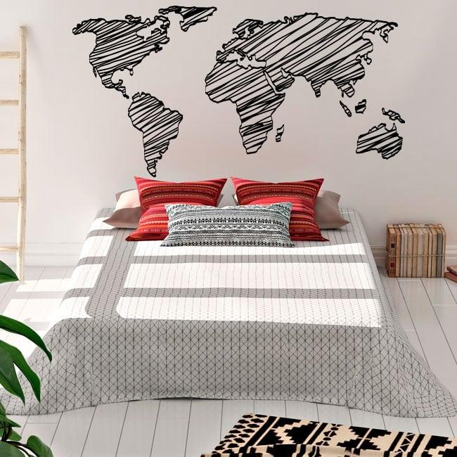 Vinyle décoratif et des autocollants carte du monde coups