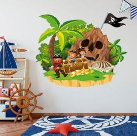 Vinyle pour enfants pirate sur l'île