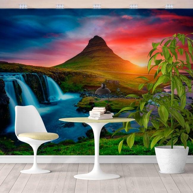 Papier peint islande coucher de soleil cascades et montagne kirkjufell